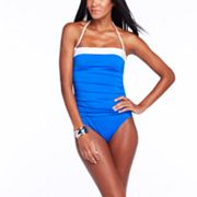 Chaps Colorblock Halter One-Piece Swimsuit