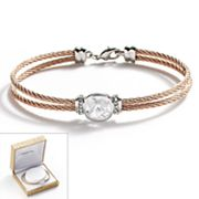 18k Rose Gold Over Stainless Steel and Sterling Silver Plate Crystal Cable Multistrand Bracelet