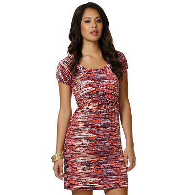 daisy fuentes Brushstroke Smocked Empire Dress - Petite