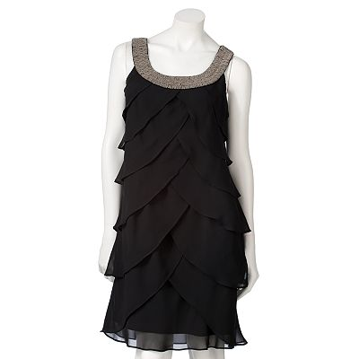 Expo Tiered Chiffon Shift Dress