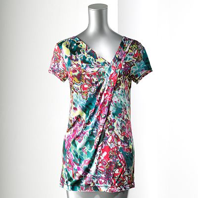 Simply Vera Vera Wang Watercolor Asymmetrical Tee - Petite