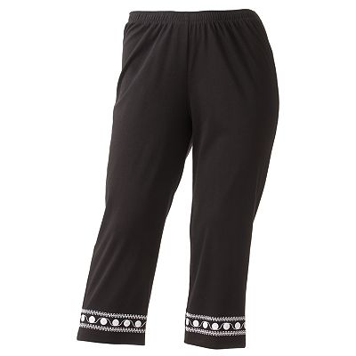 Cathy Daniels Embroidered Pull-On Capris - Women's Plus
