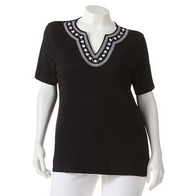 Cathy Daniels Embroidered Top - Women's Plus