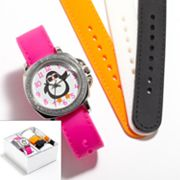 Silver Tone Penguin Interchangeable Watch Set - Kids