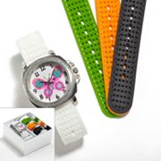 Silver Tone Butterfly Interchangeable Watch Set - Kids