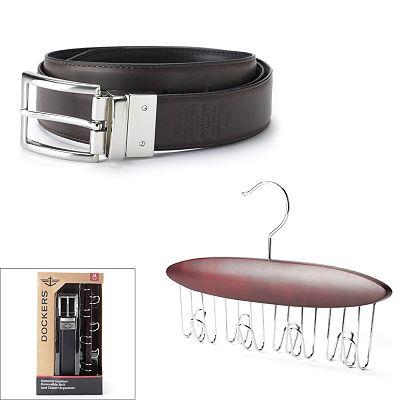 Dockers Reversible Leather Belt and Belt Organizer Set