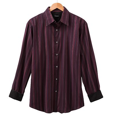 Van Heusen Striped No-Iron Casual Button-Down Shirt