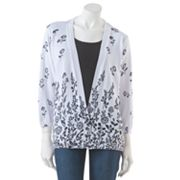 Cathy Daniels Floral Mock-Layer Sweater