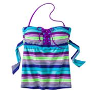 Candie's Striped Bandeaukini Top