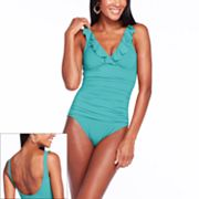 Chaps Ruffle One-Piece Swimsuit