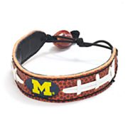 Michigan Wolverines Leather Football Bracelet
