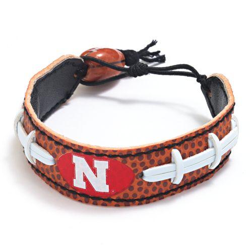Nebraska Cornhuskers Leather Football Bracelet