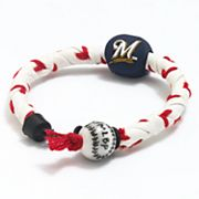 Frozen Rope Milwaukee Brewers Leather Baseball Bracelet