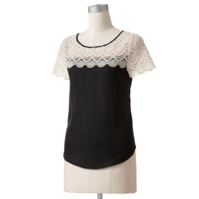 LC Lauren Conrad Crochet Satin Top