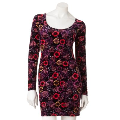 Body  Dress on Candie S Floral Velvet Body Con Dress   Juniors