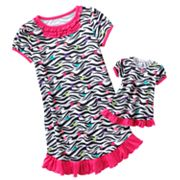 Jumping Beans Zebra Ruffle Nightgown - Girls 4-7