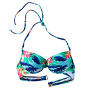 Candie's Tropical Halter Push-Up Underwire Bikini Top