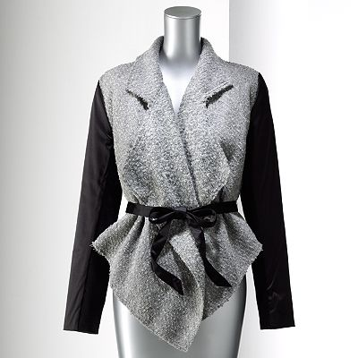 Simply Vera Vera Wang Mixed-Media Wool Blend Jacket