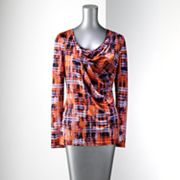 Simply Vera Vera Wang Plaid Drapeneck Top