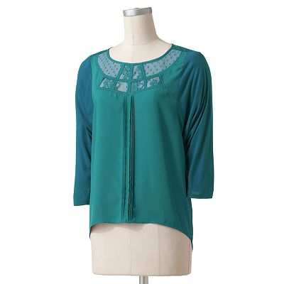 LC Lauren Conrad Lace Mixed-Media Top