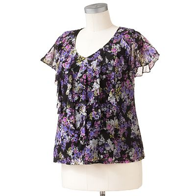 ELLE Floral Ruffle Top - Women's Plus