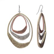 SONOMA life + style Tri-Tone Distressed Drop Earrings