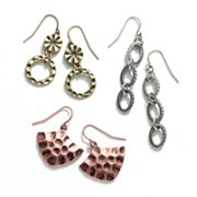 SONOMA life + style Tri-Tone Distressed Drop Earring Set