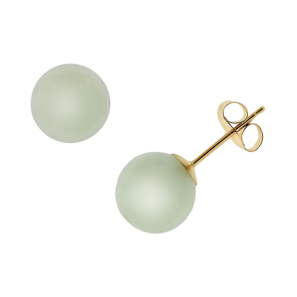 14k Gold Jade Stud Earrings