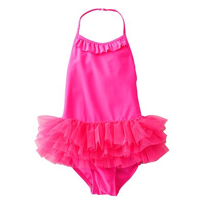 Jumping Beans Solid Halter Tutu One-Piece Swimsuit - Girls 4-7
