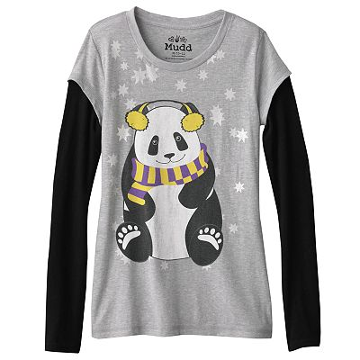 Mudd Mock-Layer Foil Panda Tee - Girls 7-16
