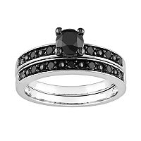 Round-Cut Black Diamond Engagement Ring Set in 10k White Gold (1 ct. T.W.)