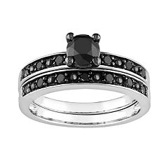 Round-Cut Black Diamond Engagement Ring Set in 10k White Gold (1 ctT.W.)