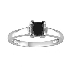 Princess-Cut Black Diamond Solitaire Engagement Ring in 10k White Gold (1 ct. T.W.)