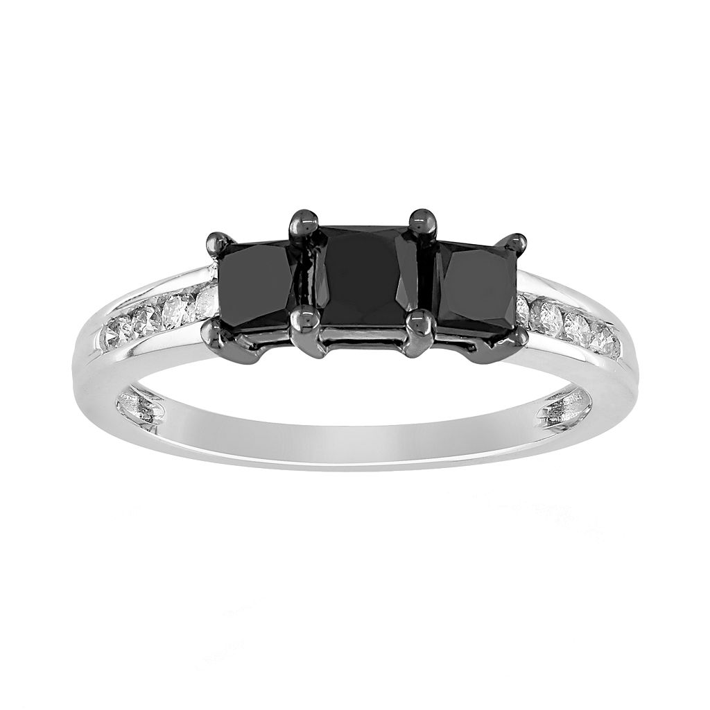 Princess-Cut Black & White Diamond Engagement Ring in 10k White Gold (1 ct. T.W.)