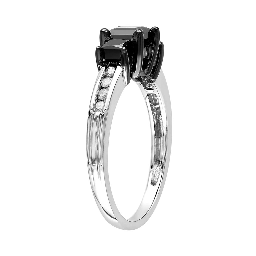 Princess-Cut Black and White Diamond Engagement Ring in 10k White Gold (1 ct. T.W.)