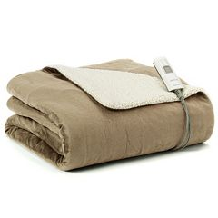 Sunbeam Slumber Rest Reversible Sherpa Electric Throw