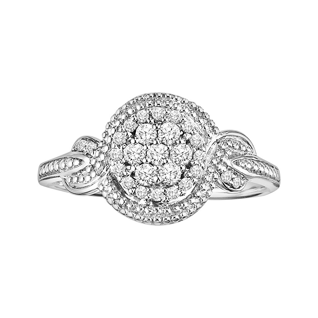 Love Always Round-Cut Diamond Twist Engagement Ring in Platinum Over Silver (1/4 ct. T.W.)