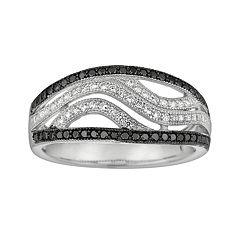 Silver on the Rocks Sterling Silver Black & White Cubic Zirconia Openwork Wave Ring