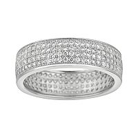 Silver on the Rocks Sterling Silver Cubic Zirconia Multirow Ring