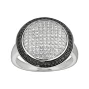 Silver on the Rocks Sterling Silver Black and White Cubic Zirconia Dome Ring