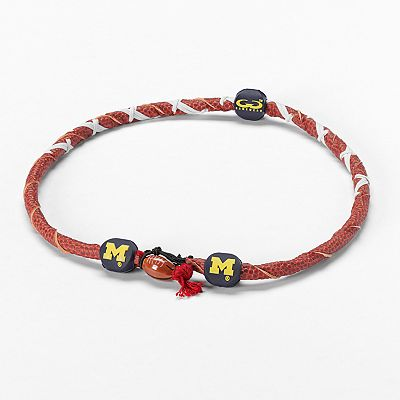 Spiral Michigan Wolverines Leather Football Necklace