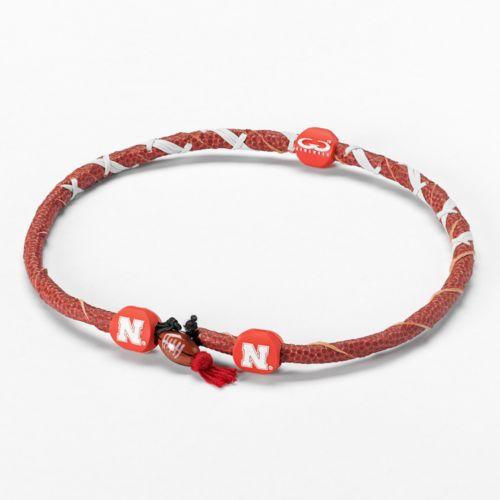 Spiral Nebraska Cornhuskers Leather Football Necklace