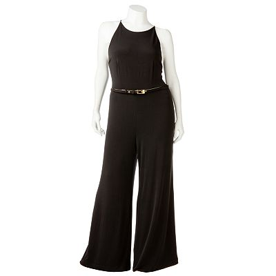 Jennifer Lopez Solid Wide-Leg Jumpsuit - Women's Plus