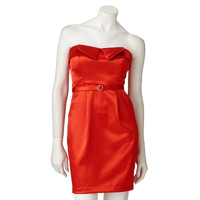 My Michelle Pleated Strapless Dress - Juniors
