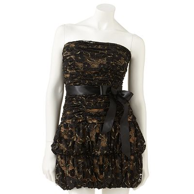My Michelle Lace Strapless Dress - Juniors