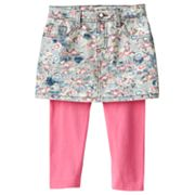 Mudd Floral Denim Skirt and Leggings Set - Girls 4-6x