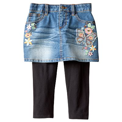 Mudd Embellished Denim Skirt and Leggings Set - Girls 4-6x