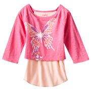 Mudd Mock-Layer Peace and Love Butterfly Top - Girls 4-6x
