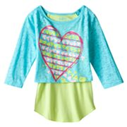 Mudd Mock-Layer Peace and Love Top - Girls 4-6x