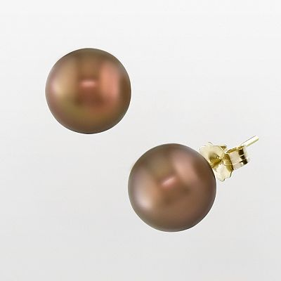 14k Gold Brown Tahitian Cultured Pearl Stud Earrings